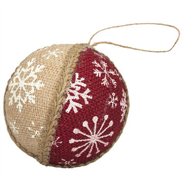 Winter Wishes Burlap Ball Ornament - Red & Beige