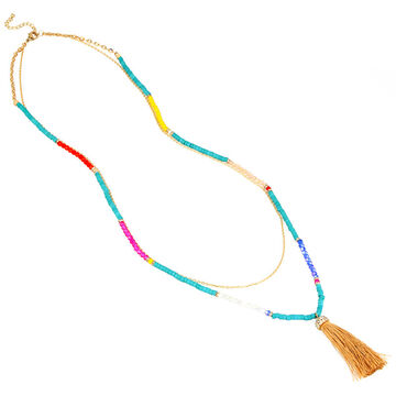 Haskell Beaded Tassel Necklace - Multi Colour
