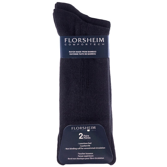 Florsheim Men's Non-Binding Socks - Black - 2 Pairs