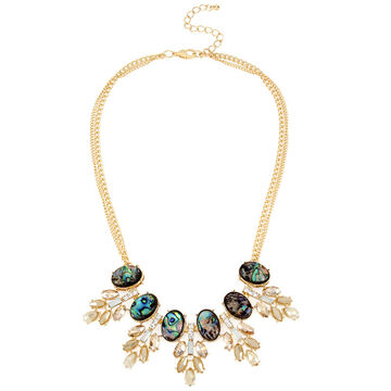 Haskell Statement Shell Necklace - Green/Gold