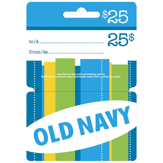 Old Navy gift cards are the solution to your last-minute gift-giving dilemma. We will send an Old Navy gift card by mail or email in a special gift presentation with your personal message. Old Navy gift cards can be used at Gap, Old Navy, Banana Republic, and Athleta.