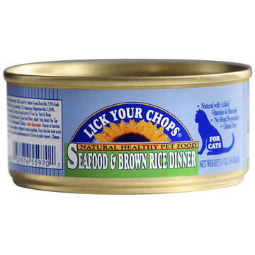 Lick Your Chops Wet Cat Food - Seafood & Brown Rice - 156g