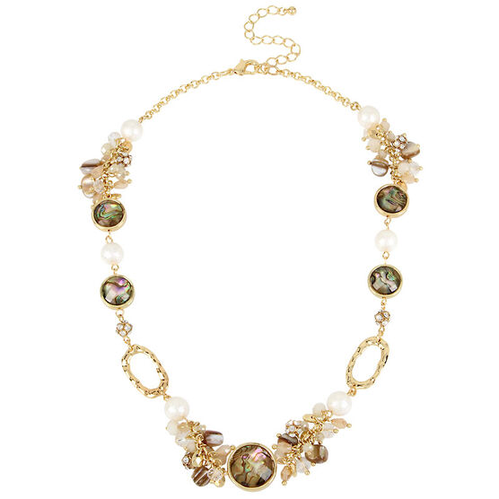 Haskell Multi Bead Necklace - Neutral/Gold