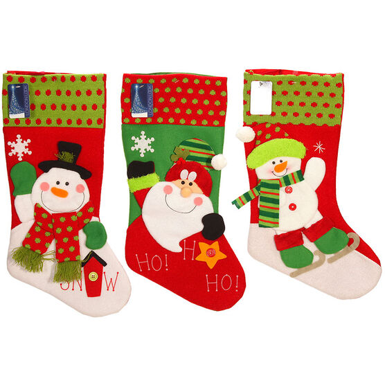 London Look Jingle Jolly Stocking 3D - 20inch - Assorted