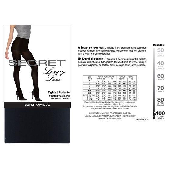 Secret Luxury Matte Opaque Tights - D - Black