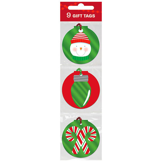 Christmas Red/White/Green Foil Gift Tags - 9s