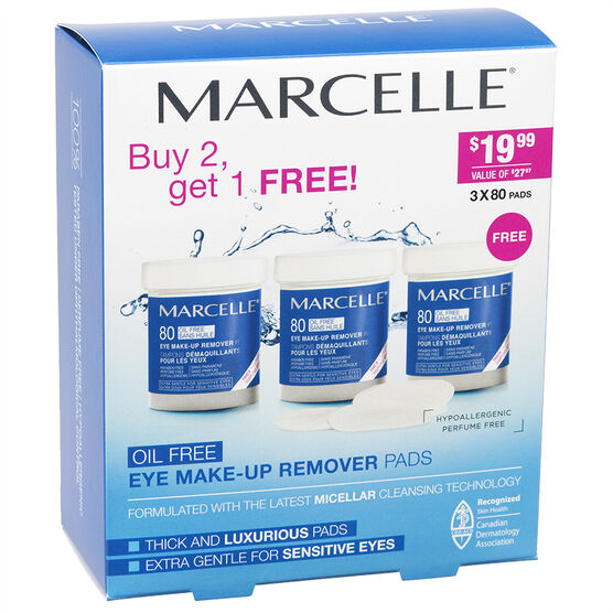 Marcelle Eye Make-up Remover Pads - 3 x 80 Pads
