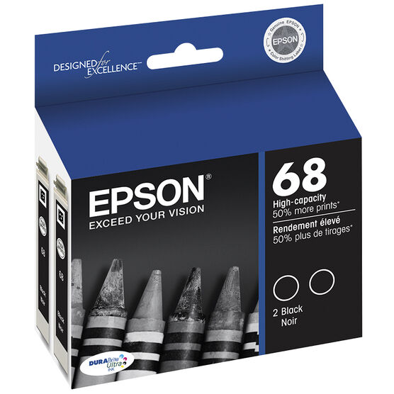 Epson 68 Durabrite Ink Cartridge Hi Capacity Dual Pack - Black - T068120-D2