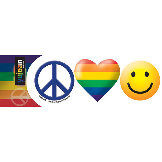 Rainbow Peace Love Happiness Sticker