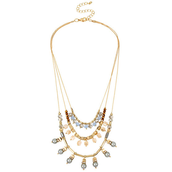 Haskell Three Row Necklace - Blue/Gold