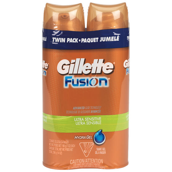 Gillette Fusion Gel Ultra Sensitive Shaving Cream - 2x198g