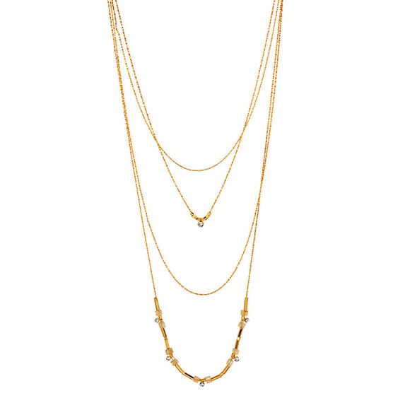 Haskell Layered Necklace - Clear/Gold