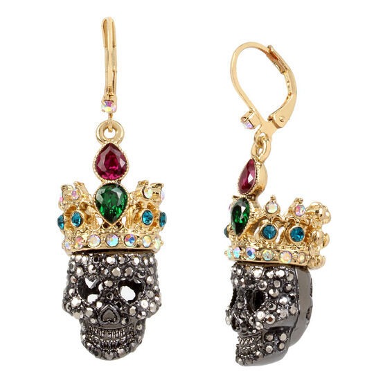 Betsey Johnson Dark Crown Skull Drop Earring - Multi