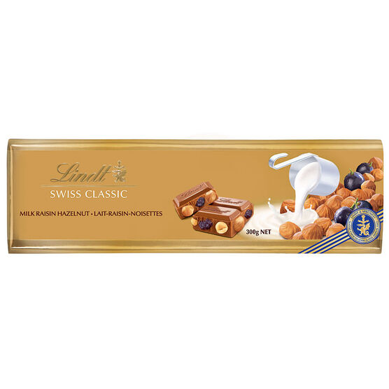 Lindt Gold Chocolate Bar - Raisin Hazelnut - 300g