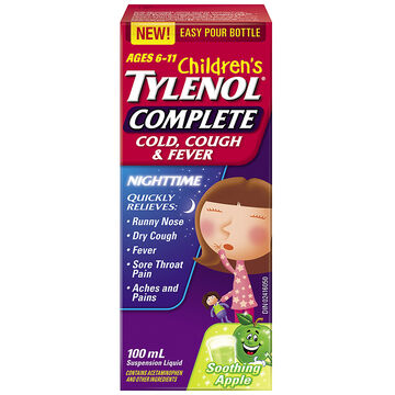 Tylenol* Children's Complete Cold Cough & Fever Nighttime - Soothing Apple - 100ml