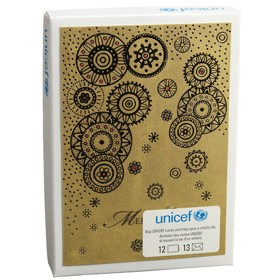 Unicef Christmas Cards - Gold Medallions - 12 pack