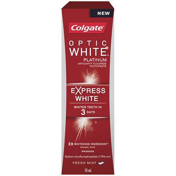 Colgate Optic White Platinum Express White Toothpaste - Fresh Mint - 70ml