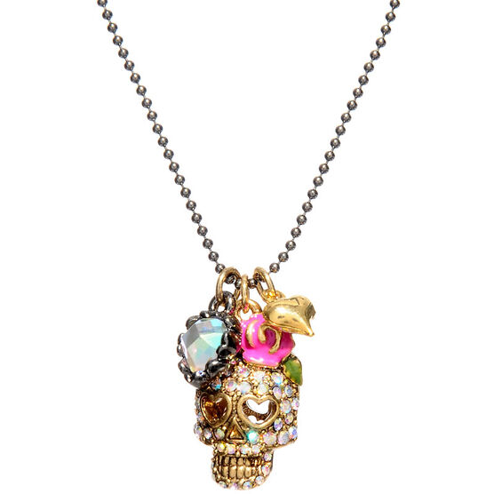 Betsey Johnson Skull Crystal Necklace - Multi