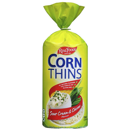 Real Foods Corn Thins - Sour Cream - 125g