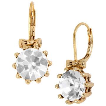 Betsey Johnson Crystal Drop Earrings - Gold Tone