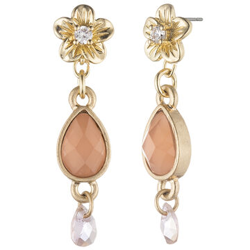 Lonna & Lilly Flower Drop Earrings - Peach