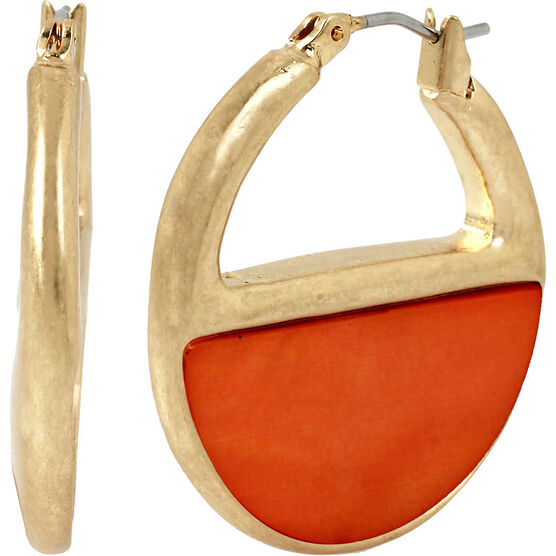 Kenneth Cole Half Circle Hoop Earrings - Coral/Gold
