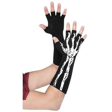 Halloween Black Bone Long Gloves