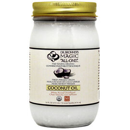 Dr. Bronner's Fresh-Pressed Virgin White Kernel Unrefined Coconut Oil - 414 mL