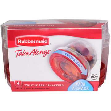 Rubbermaid TakeAlongs Twist & Seal Containers - Clear - 4 x 284ml