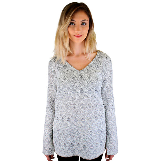 Lava Jacquard - V-Neck Sweater - Grey