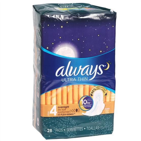 Always Ultra Thin - Overnight - 28's
