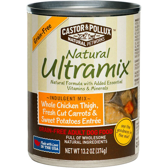 Castor & Pollux Natural Ultramix Grain-Free Adult Dog Food - Whole Chicken Thigh, Fresh Cut Carrots & Sweet Potatoes Entrée - 374g
