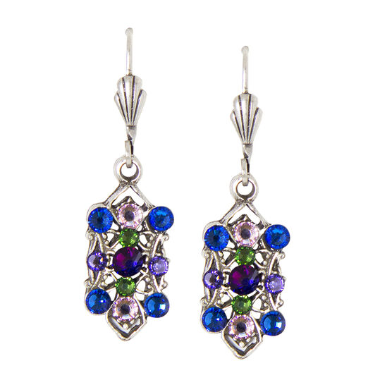 Anne Koplik Multi-Coloured Filagree Rectangle Earrings
