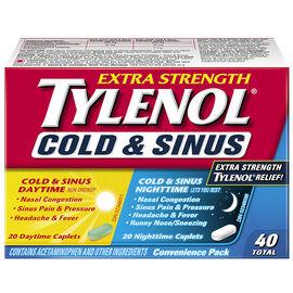 Tylenol* Extra Strength Daytime & Nighttime Cold & Sinus - 40's