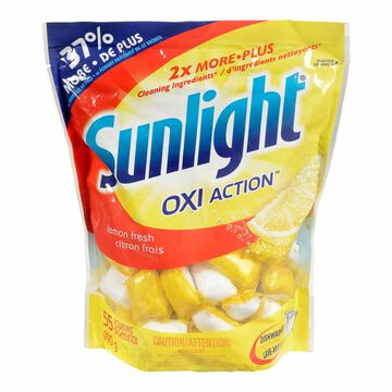 Sunlight Oxi Action Dishwasher Detergent - Lemon Fresh - 55's