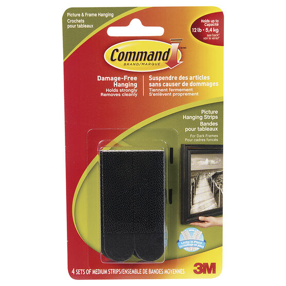 Command™ Medium Picture Hanging Strips - Black - 4 sets