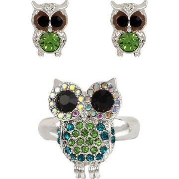 Betsey Johnson Owl Ring and Earrings Set - Green/Silver