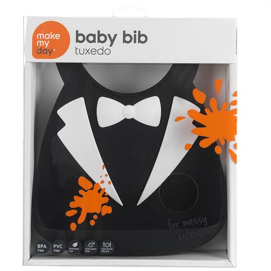 Make My Day Baby Bib - Tuxedo