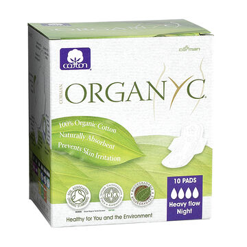 Organyc Pads Wrapped - Heavy Flow - 10's