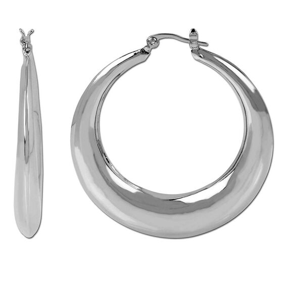 Haskell Silver Thick Hoop Earrings