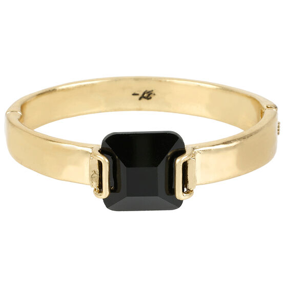Kenneth Cole Hinged Bangle - Jet/Gold Plated