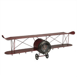 London Drugs Metal Biplane Desk Clock - Antique Red