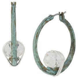 Robert Lee Morris Silver Plated Wire Wrapped Hoop Earrings - Patina