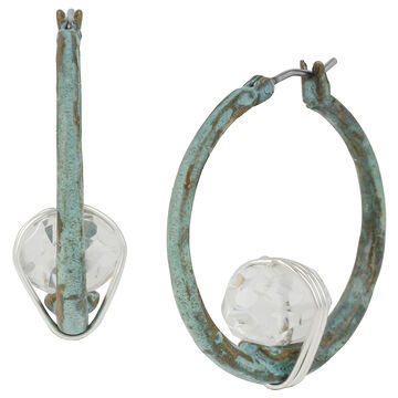 Robert Lee Morris Silver Plated Wire Wrapped Hoop Earrings - Patina