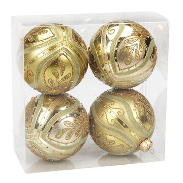 Winter Wishes Elegance Ball Ornaments - 4 pack - Gold