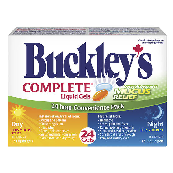 Buckley's Complete Liquid Gels 24 hour Convenience Pack with Daytime Mucous Relief - 24's