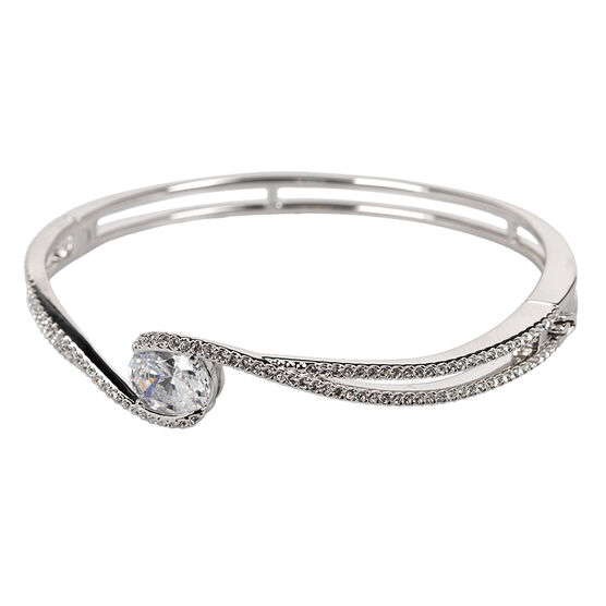 Eliot Danori Ondine Bangle Bracelet - Rhodium