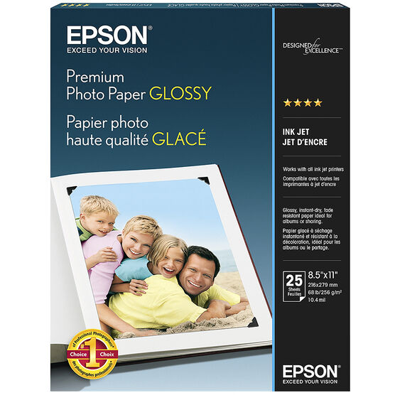 Epson Premium Photo Paper - Glossy - 25 sheets - 8.5 x 11 inch - S042183-F