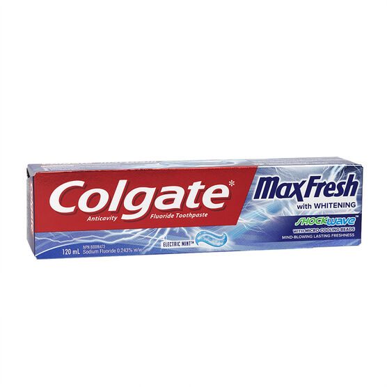 Colgate MaxFresh with Whitening ShockWave Toothpaste - Electric Mint - 120ml