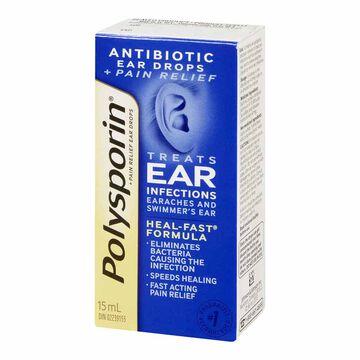 Polysporin Antibiotic Ear Drops plus Pain Relief - 15ml